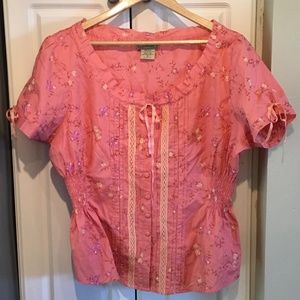 Art and Soul Coral Cotton Button Up Peasant Top